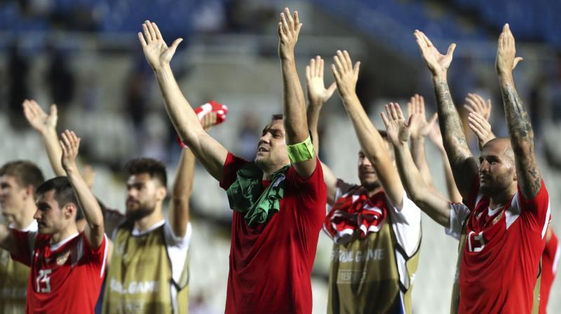 Russia's Artem Dzyuba, center, celebrates with teammates at the end of the Euro 2020 group I qualifying soccer match between Cyprus and Russia at GSP stadium in Nicosia, Cyprus. (Photo: AP)