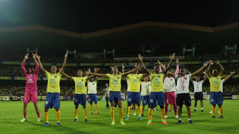 Nigerian striker Bartholomew Ogbeche struck a brace to help Kerala Blasters beat ATK 2-1 in the opening match of the Indian Super League season six. (Photo: Twitter/ Indian Super League)