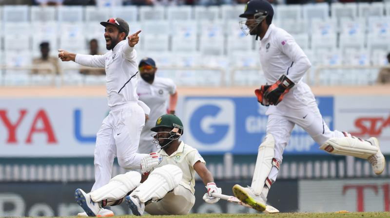 South Africa were 129 for 6 in their first innings in reply to India's 497 for 9. (Photo: AFP)