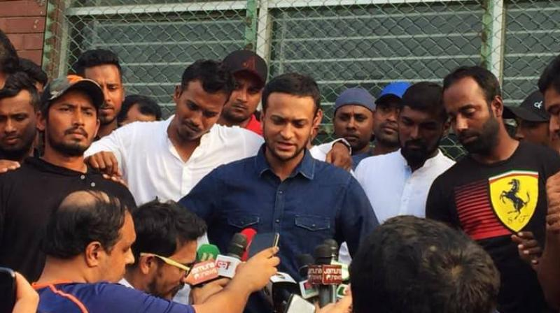 Shakib Al Hasan and his colleagues made their statement before the standing media.