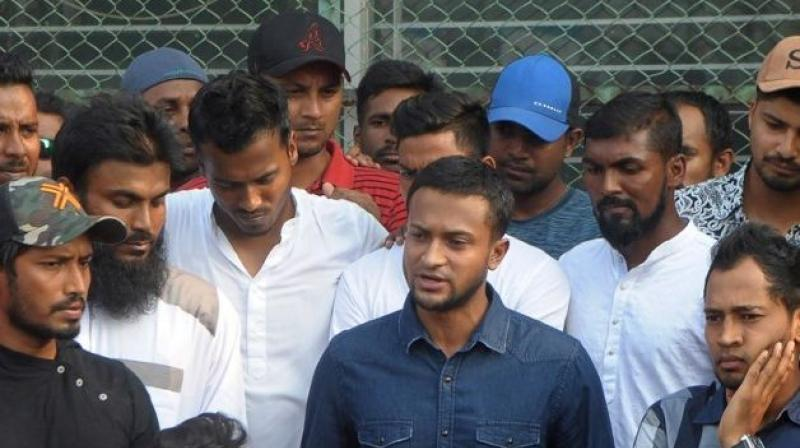 Shakib Al Hasan and Mahmadullah were some of the prominent players, who announced their demands during the press conference at the National Cricket Academy in Dhaka on Monday. (Photo: AFP)