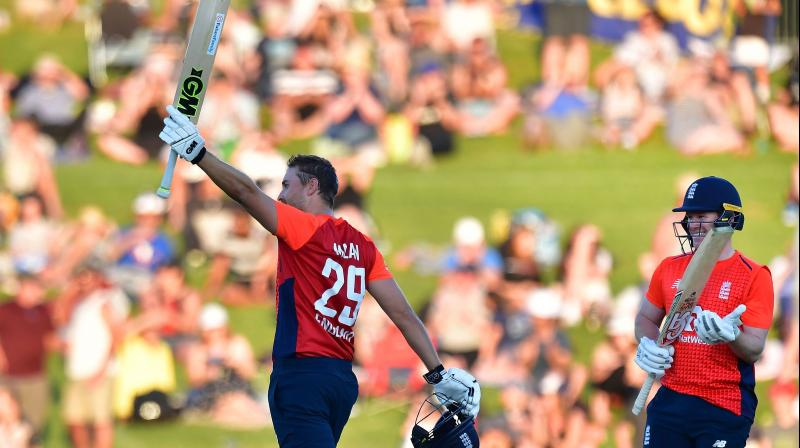 Dawid Malan's 48-ball century was the fastest T20 hundred by an Englishman, his 182-run stand with Eoin Morgan is the highest by an England pair and the 241 total is an England record. (Photo: AFP)