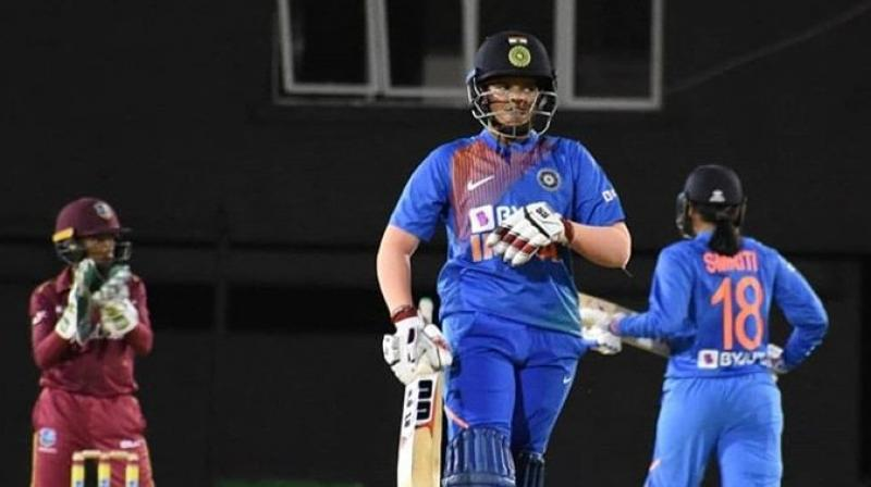 Shafali Verma, who overtook the iconic Sachin Tendulkar to become the youngest Indian cricketer to score a half-century in international cricket, displayed scintillating form yet again and smashed 10 fours and two sixes. (Photo: Twitter)