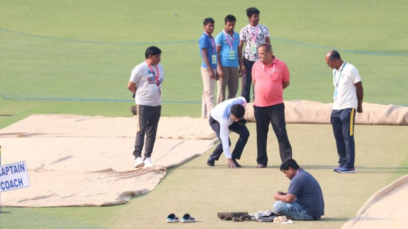 Sourav Ganguly on Wednesday inspected the Eden Gardens pitch, the venue where Men in Blue will play their first-ever day-night Test match. (Photo: Twitter/ BCCI)