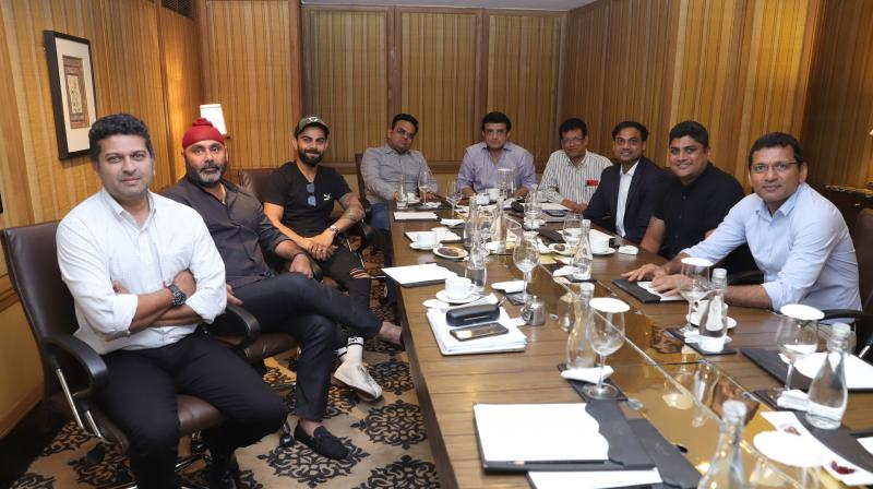 Chief Selector MSK Prasad was joined by India skipper Virat Kohli, Board of Control for Cricket in India (BCCI) president Sourav Ganguly and others to pick the team. (Photo: Twitter/ BCCI)