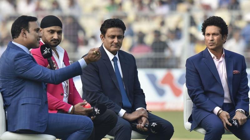 In a special programme during the lunch break on the opening day of the India-Bangladesh pink-ball Tests, Tendulkar, Kumble, Harbhajan Singh and VVS Laxman relived some of the iconic moments at the famous venue. (Photo: PTI)