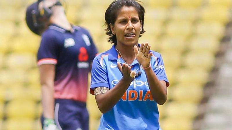 Poonam Yadav, who is now standing just behind Australian pacer Megan Schutt and New Zealand off-spinner Leigh Kasperek, broke into the top five of the list after ending as the leading wicket-taker in the recently-concluded Women's Asia T20 Cup with seven wickets in six games. (Photo: PTI)