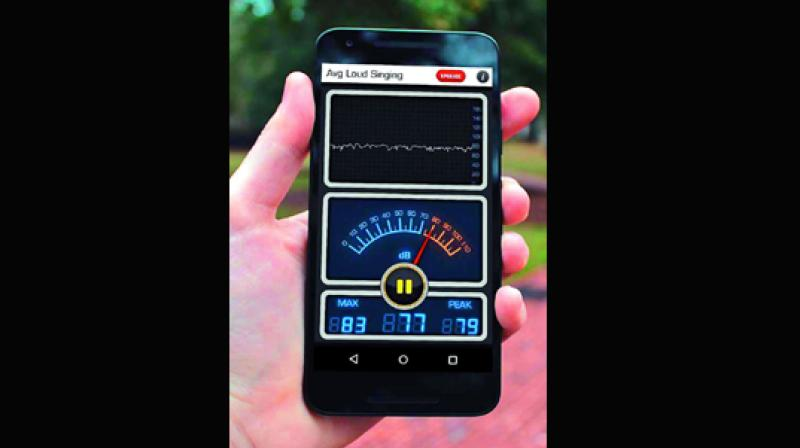 Sound  monitoring app  measures noise levels at  different  surroundings.