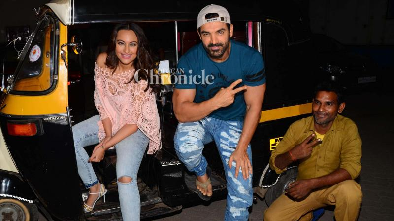 John Abraham and Sonakshi Sinha were seen promoting their recent release 'Force 2' on an auto rickshaw in Mumbai on Friday. (Photo: Viral Bhayani)