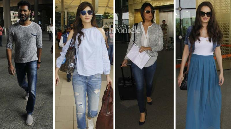 Kriti Sanon, Lara Dutta Bhupathi, Mahesh Bhupathi, Evelyn Sharma and Prabhudeva were seen at the Mumbai airport on Friday. (Photo: Viral Bhayani)