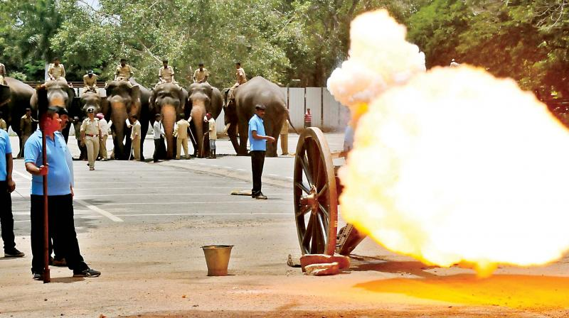The cannon fire rehearsal for Dasara elephants was conducted in Mysuru on Friday ahead of the festival celebration