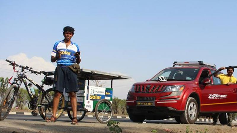 Sushil Reddy cycled across nine states with a team of three people before he set the world record. (Photo: Facebook)