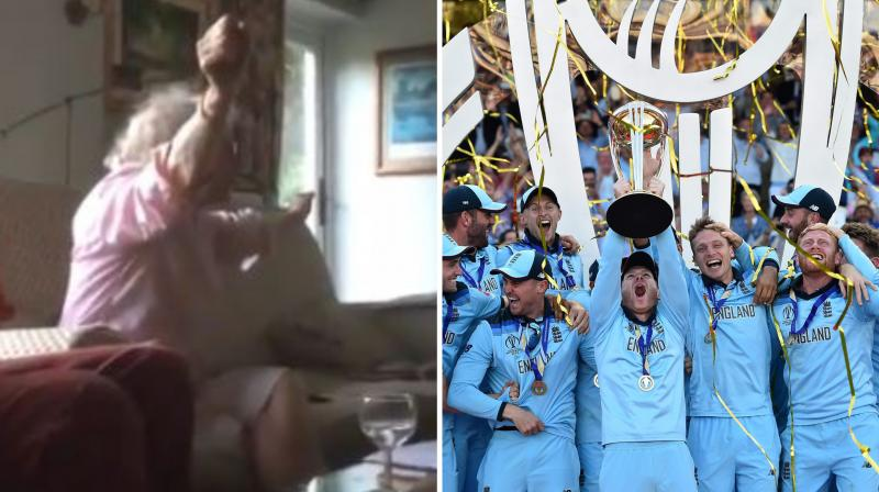 The two-minute plus video shows the woman watching the final moments of the match intensely and jumping to celebrations and bound-less laughter as England turned winners. (Photo: screengrab/twitter/AFP)