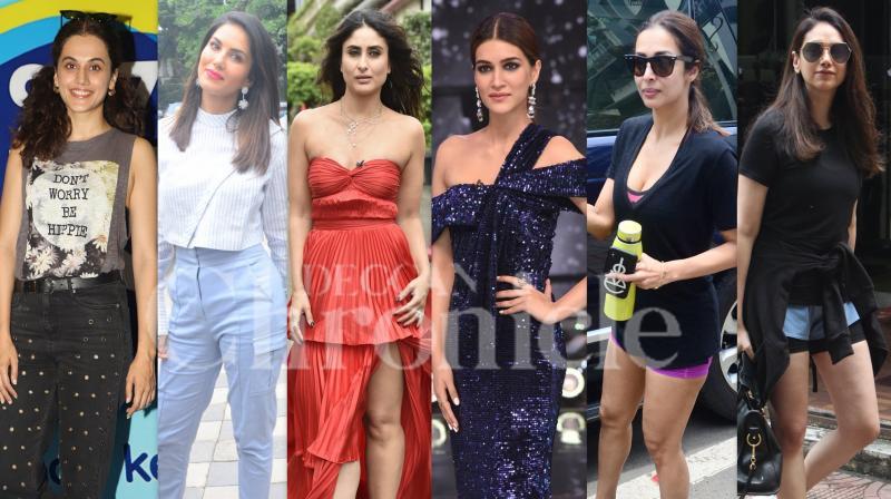 Bollywood divas like Kareena Kapoor Khan, Taapsee Pannu, Sunny Leone, Kriti Sanon, Aditi Rao Hydari, Patralekhaa, Sanya Malhotra and others dazzled in their stylish avatar in the city of dreams, Mumbai. (Photos: Viral Bhayani)