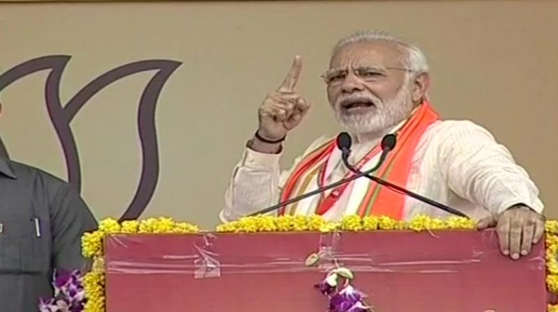 PM Modi expressed confidence that the BJP would emerge victorious in the upcoming Assembly polls in Madhya Pradesh as well as in the Lok Sabha elections next year. (Photo: ANI/Twitter)
