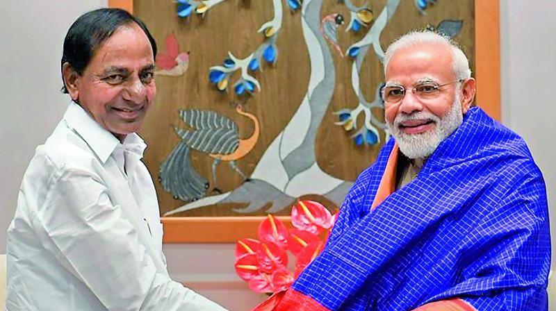 Telangana Chief Minister K. Chandrashekar Rao meets Prime Minister Narendra Modi in New Delhi on Friday.(PTI)