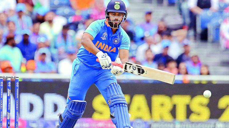 Rishabh Pant bats during the semifinal against New Zealand in Manchester on Wednesday. (Photo: AP)