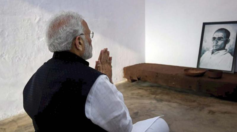 Prime Minister Narendra Modi pays homage to noted freedom fighter Vinayak Damodar Savarkar on the premises of Cellular Jail in Port Blair on Sunday (Photo: AP)