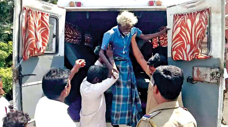 The elderly person being taken to a government home after the ruckus. (Photo: DC)