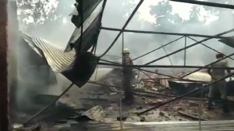 The cause of the fire is yet to be ascertained, a police officer said adding that there was a couple of blasts from the factory which damaged a few nearby houses. (Photo: Twitter | ANI)