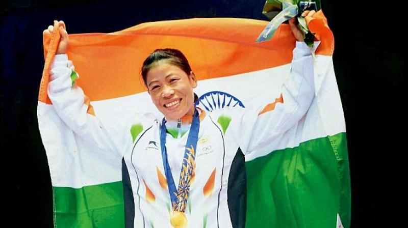 MC Mary Kom, the Olympic medallist, who returned to her preferred 48kg weight category after five years of competing in 51kg, was bidding for her first Asian gold medal in the category. (Photo: PTI)
