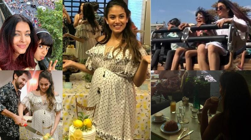 Celebrity mothers spent time with their daughters abroad, while an expectant one revealed her excitement on Sunday. (Photos: Instagram)
