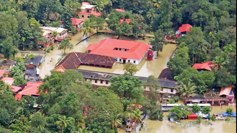 Aerial photograph of the flooded Chengannur. (Image DC)