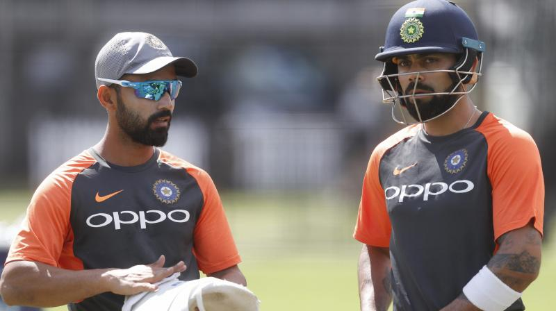 Ajinkya Rahane cited the example of his 262-run partnership with Virat Kohli at Melbourne in 2014-15 and said that the Australian focus on the India's star batsman helps other batsmen do their job silently at the other end. (Photo: AP)