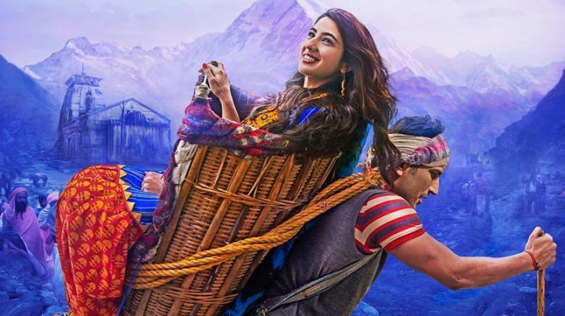 Sushant Singh Rajput and Sara Ali Khan on Kedarnath poster.