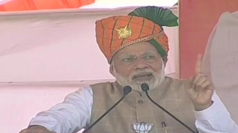 The prime minister was addressing an election rally here on the tenth anniversary of the 26/11 terror strike when 10 Pakistani terrorists sneaked into Mumbai, killing 166 people over 60 hours. (Photo: ANI | Twitter)