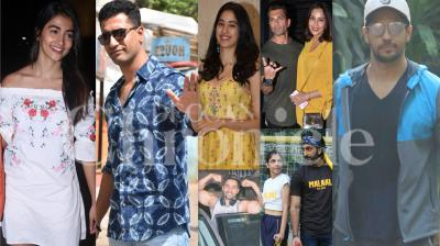 Bollywood celebrities like Varun Dhawan, Vicky Kaushal, Janhvi Kapoor, Bipasha Basu, Karan Singh Grover, Pooja Hegde, Sidharth Malhotra and others snapped in stylish avatar in the city of dreams, Mumbai. (Photos: Viral Bhayani)