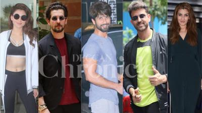 Bollywood celebrities like Hrithik Roshan, Urvashi Rautela, Shahid Kapoor, Raveena Tandon, Arjun Rampal, Pulkit Samrat, Kirti Kharbanda and others were spotted in Mumbai. (Photos: Viral Bhayani)