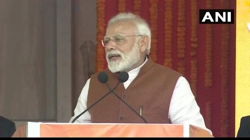Prime Minister Narendra Modi addressing a rally in Guntur on Sunday. (Photo: ANI)