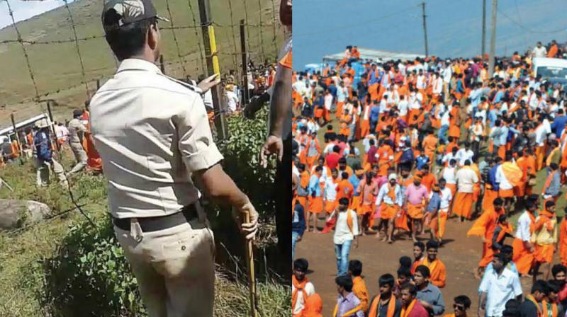 Police disperse unruly mob at Bababudangiri near Chikkamagaluru on Sunday.  (Right) devotees near Dattatreya Swami Dargah. (Photo: DC)