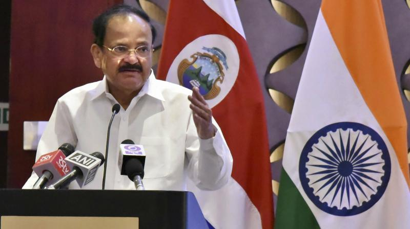 Vice President Naidu, who became the first Indian on Friday to receive an honorary doctorate by the University of Peace founded by the United Nations. (Photo:PTI)