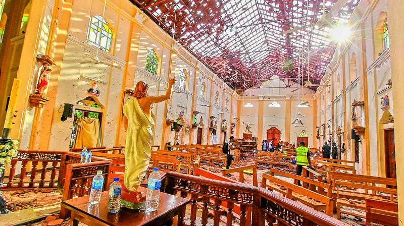 A view of St. Sebastian's Church damaged in blast in Negombo, north of Colombo, Sri Lanka, on Sunday. (Photo: AFP)