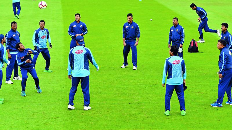 Bangladesh players at a training session at The County Ground in Taunton on Sunday.  (AFP)