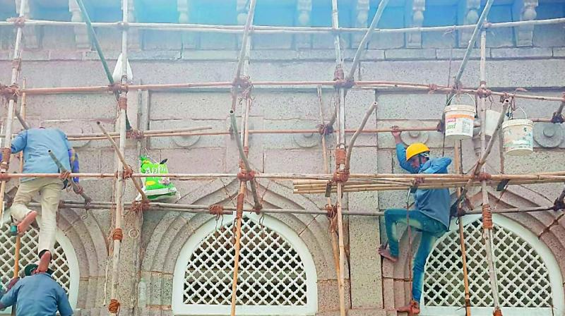Restoration work being carried out at Macca Masjid.