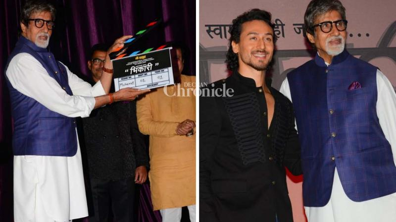 Amitabh Bachchan and Tiger Shroff were seen at the Muhurat shot of the Marathi film 'Bhikari' on Wednesday. (Photo: Viral Bhayani)