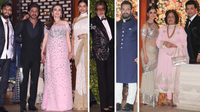 Shah Rukh Khan, Amitabh Bachchan and several other stars were spotted arriving at Mukesh Ambani's bash on Thursday. (Photo: Viral Bhayani)