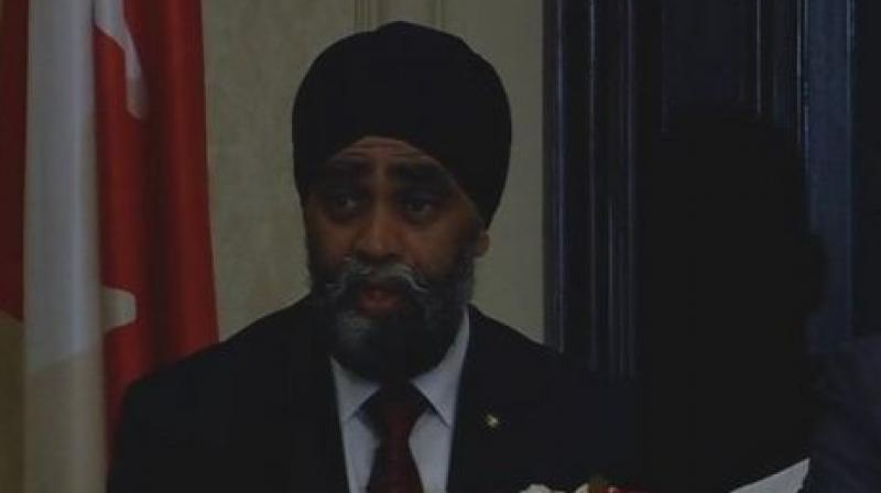 Canadian Defence Minister Harjit Singh Sajjan. (Photo: ANI/Twitter)