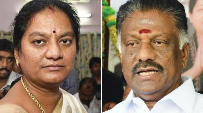 Expelled AIADMK MP Sasikala Pushpa and former chief minister O Panneerselvam. (File photos)