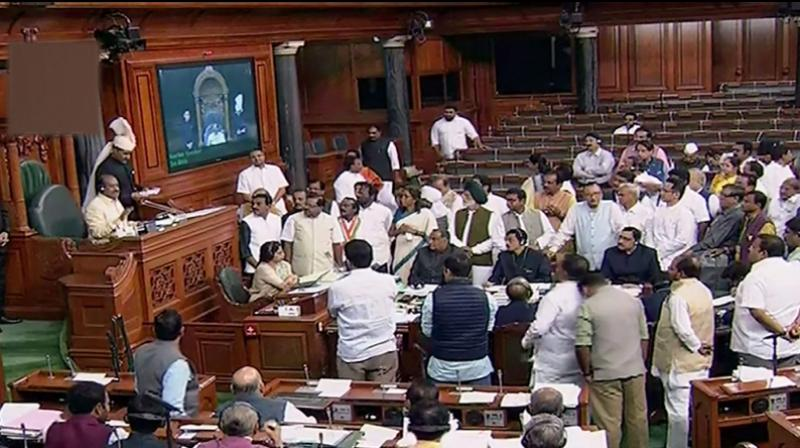 'Big Scams': Oppn protests in LS over disinvestment of PSUs, electoral bond