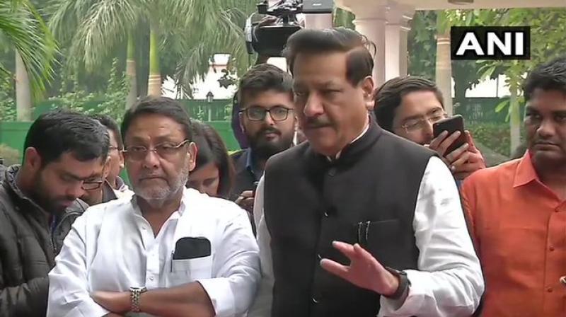 Former Maharashtra chief minister Prithviraj Chavan said that they will share the power-sharing formula. (Photo: ANI)