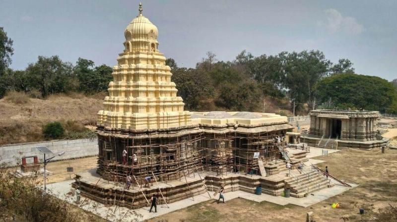 A file photo of the famous Kirthinarayana Temple at Talakadu surrounded by sand dunes.