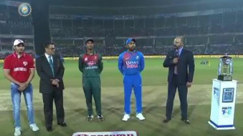 Bangladesh captain Mahmudullah won the toss and elected to bowl first against India in the third and final T20 here on Sunday. (Photo:BCCI)