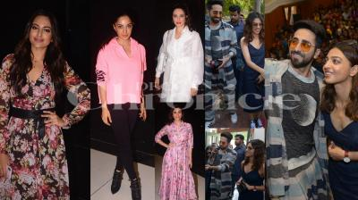 Ahead of the film release, a special screening of Salman Khan's brother-in-law Aayush Sharma debut film LoveYatri was organised in Mumbai last night. Salman's friends Sonakshi Sinha, his rumoured girlfriend Iulia Vantur, actress Daishy Shah, Kiara Advani, Sangeeta Bijlani and others attended this screening. On the other hand, AndhaDhun stars Ayushmann Khurrana and Radhika Apte promoted their film in Delhi College. (Pictures: Viral Bhayani)