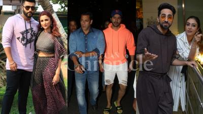 Bollywood superstars Salman Khan and Varun Dhawan were spotted together at the Mumbai airport. Meanwhile, 'Namaste England' stars Arjun Kapoor, Parineeti Chopra and 'Andhadhun' stars Ayushmann Khurrana and Tabu were spotted during the promotions of their film. Check out the latest pictures of Bollywood stars right here. (Photos: Viral Bhayani)