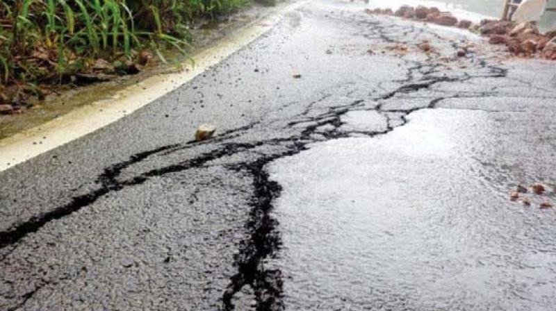 Official sources said the road passing through Sampaje Ghat was damaged at several points while in some other stretches, craters measuring several feet wide were caused by the landslides.