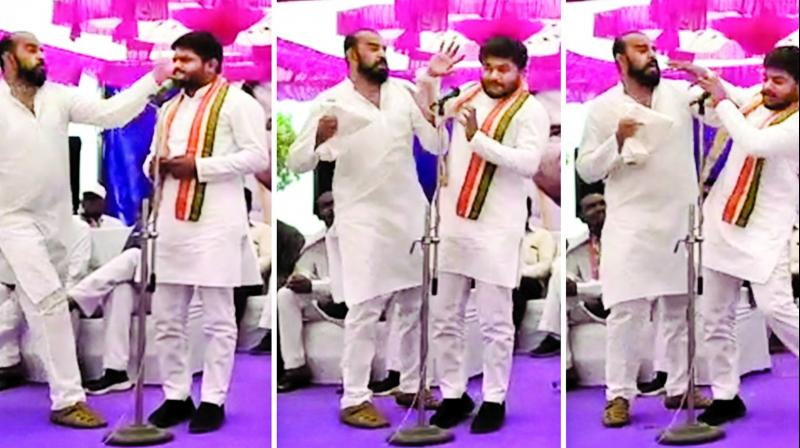 Three images taken from footage of Congress leader Hardik Patel being slapped by a man.  (PTI)